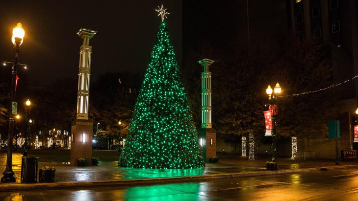 Lighted Christmas Tree at Krutch Park