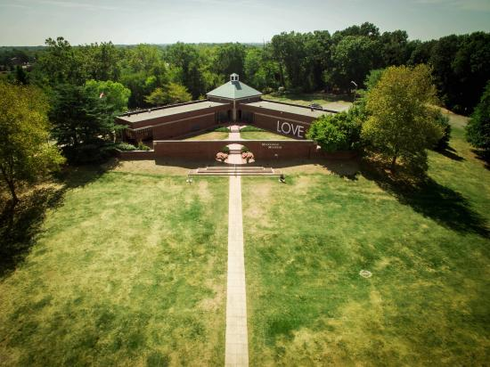 aerial shot of the outside of the Manassas Museum