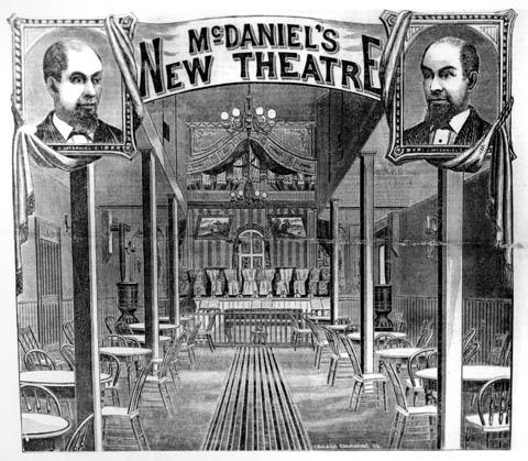 Illustration of the interior of McDaniel's New Theatre in Cheyenne, Wyoming