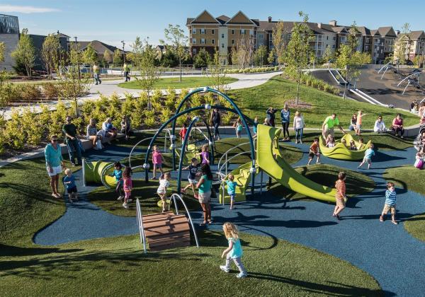 Big playground with kids
