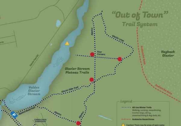 a trail map leading to a glacier