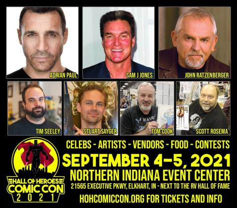 A montage of celebrities appearing at the Hall of Heroes Comic Con, including Aaron Paul, Sam J Jones and John Ratzenberger