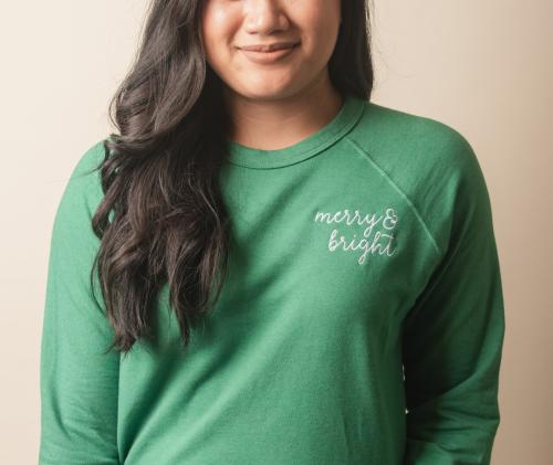 Merry and bright Fr & Co green sweatshirt