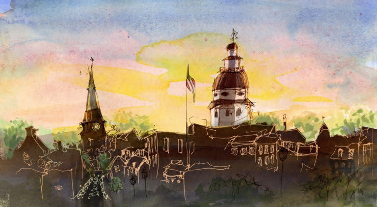 Annapolis skyline watercolor by the author, L Bo Craft