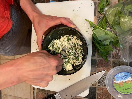 Making Chapel Hill Creamery Herb Ricotta Cheese