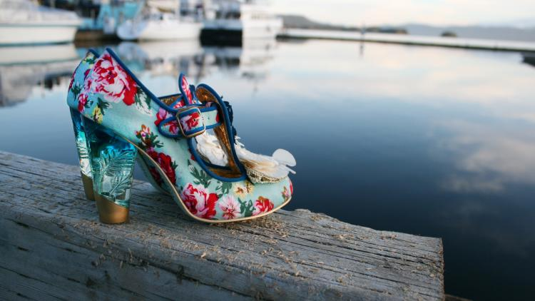 Pair of floral high heels from Shoefly