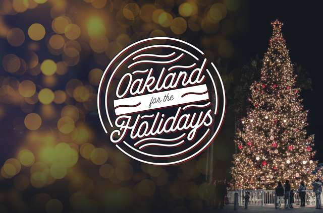Oakland for the Holidays logo next to a lit up Christmas tree