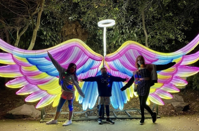 Children at Glowfari in front of a lit animal lantern at night at the Oakland Zoo