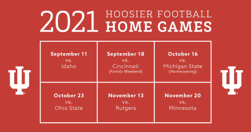 Home schedule of IU football games in 2021