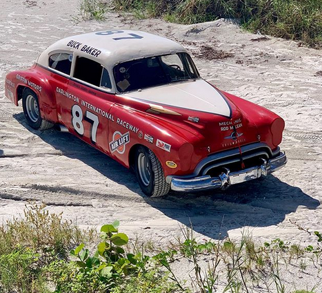 Old racing car at Racings North Turn in Daytona Beach