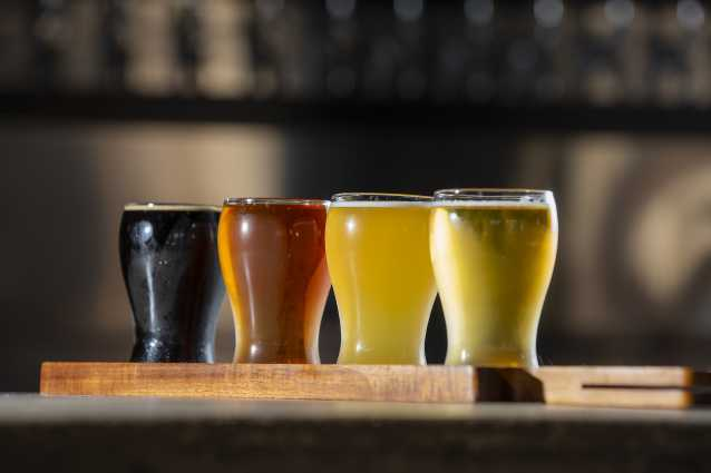 Flight of beer at Red Hare Brewery in Shallotte