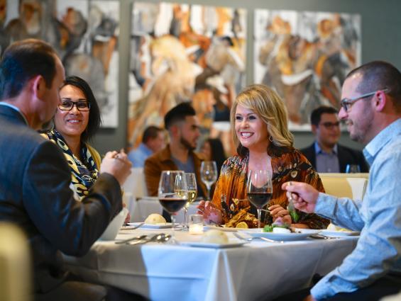 People eating dinner at August E's restaurant in Fredericksburg, TX