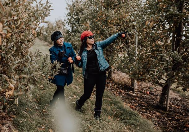 two women apple picking