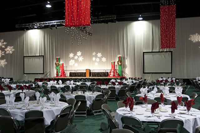 Conference room at the Mountain America Expo Center set for large banquet
