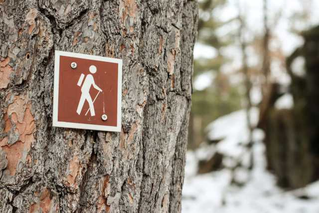 A hiking trail sign at Interstate Park in St. Croix Valley