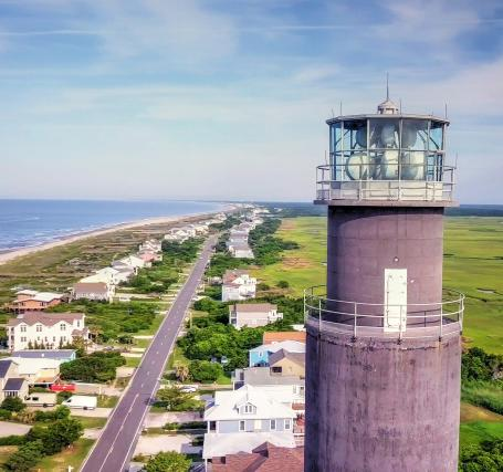 Drone shot of the Oak Island Lighthouse Last lighthouse built in North Carolina