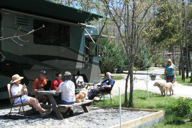 Family Gathered Around RV Campground in Rutherford County
