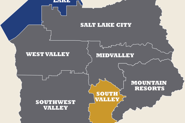 Map of Salt Lake County highlighting the South Valley region