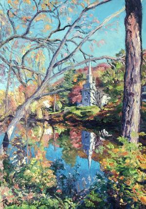 Radu Serban - 10 Church Mirroring in the Creek - oil on canvas - 46x34