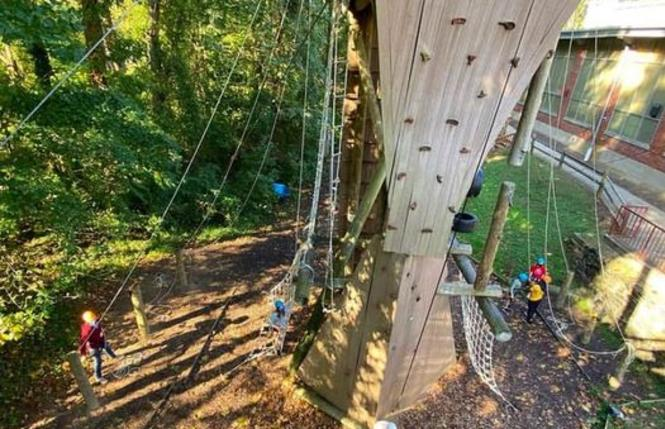The climbing tower at Terrapin Adventures' ropes course.