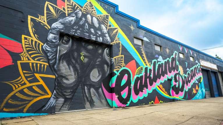 """Oakland Dreams"" Mural painted for Oakland Mural Festival 2018"