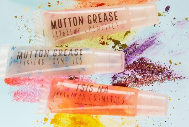 Shundine Suazo's eye-shadow palette, lip gloss, and merchandise, Frybread Cosmetics, New Mexico Magazine