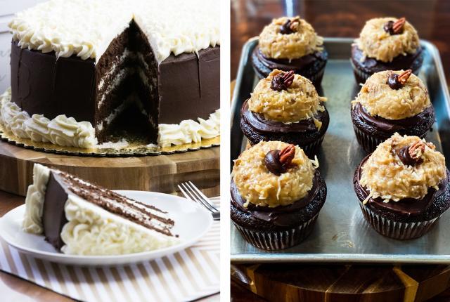 Indulgence Bakery & Cafe's Italian cream cake and German chocolate stuftcakes, New Mexico Magazine