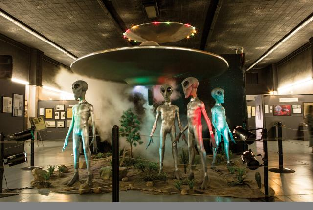 A band of ETs at the International UFO Museum and Research Center.
