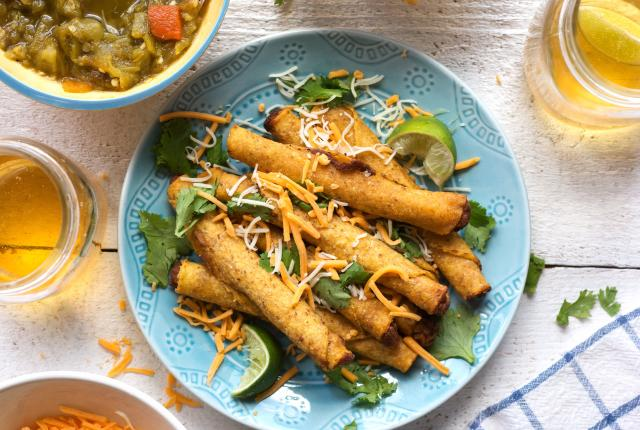 Delicious rolled tacos also known as taquitos or taquitas