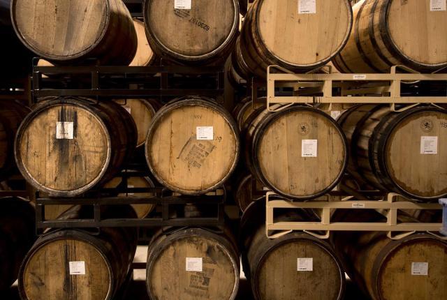 Aging barrels at Santa Fe Spirits