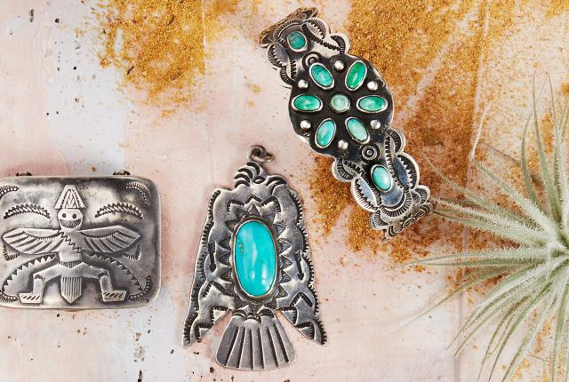 Vintage knifewing box, Vintage thunderbird pendant with turquoise, Vintage stamped bracelet with turquoise, New Mexico Magazine