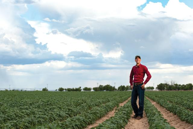 Steven Ness out in his field.
