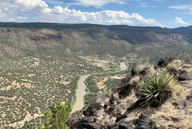 The Río Grande rolls below White Rock Overlook, New Mexico Magazine