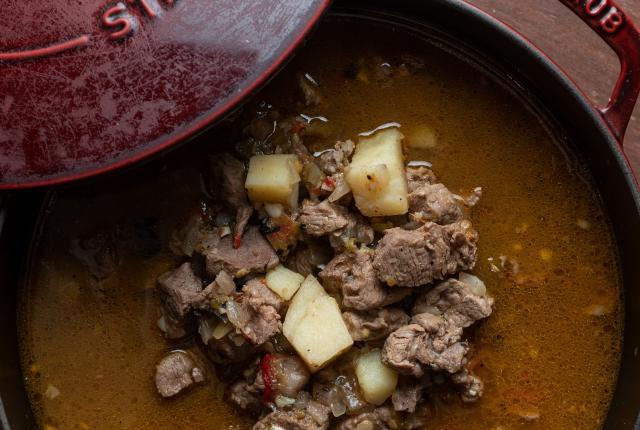 Joseph Wrede's Christmas Style Chile Beef Tenderloin Stew Recipe, New Mexico Magazine