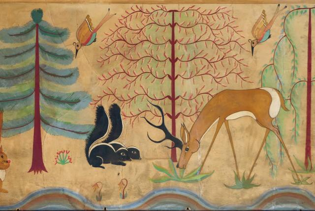 Historic Murals: Maisel's Legacy, Pop Chalee's Animals in the Forest, New Mexico Magazine