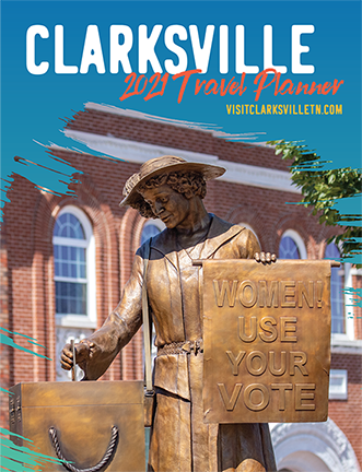 brochure cover with suffragist statue