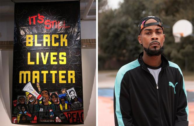 Black Lives Matter banner and photo of the banner's Artist Cell Spitfire