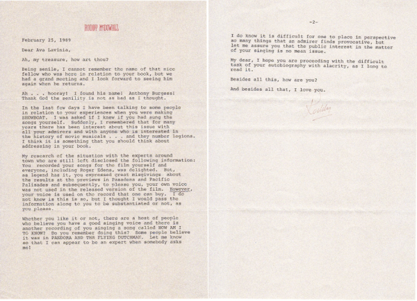 Two pages side by side of a letter from Roddy McDowall to Ava Gardner, 1989.