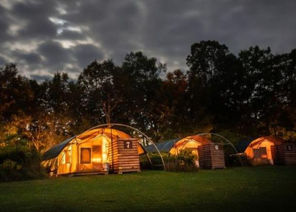 glamping pods at night