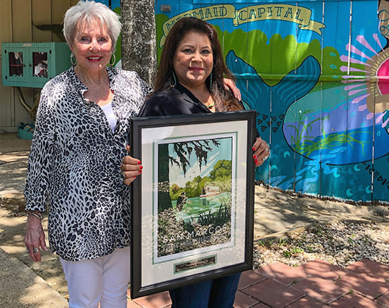 July Moreno with her 2021 Rogers Family Tourism Award. Also pictured, Shirley Rogers.