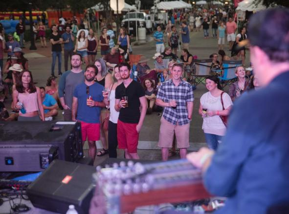 Friends Watching Live Music Concert Texas Reds Downtown Bryan Events