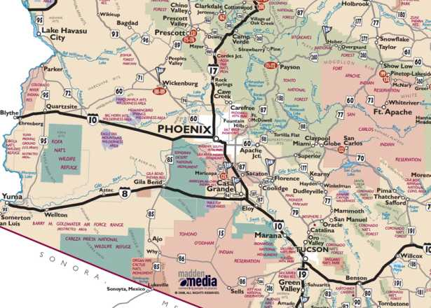 A Map Of Phoenix Arizona.Phoenix Maps Greater Phoenix Trail Guides Street Maps