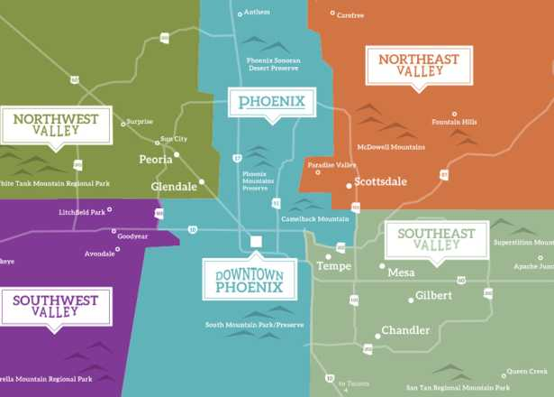 Arizona Points Of Interest Map.Phoenix Maps Greater Phoenix Trail Guides Street Maps