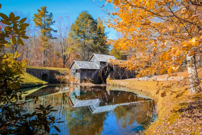 Mabry Mill surrounded by fall colors in the Blue Ridge Mountains