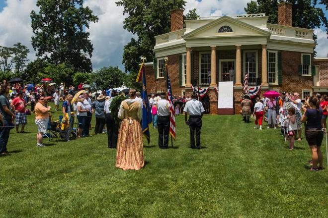Uniformed and costumed participants at the Poplar Forest Independence Day Celebration near Roanoke, VA