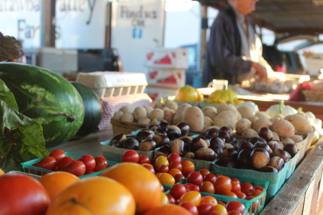 Produce on display at the Salem Farmers Market