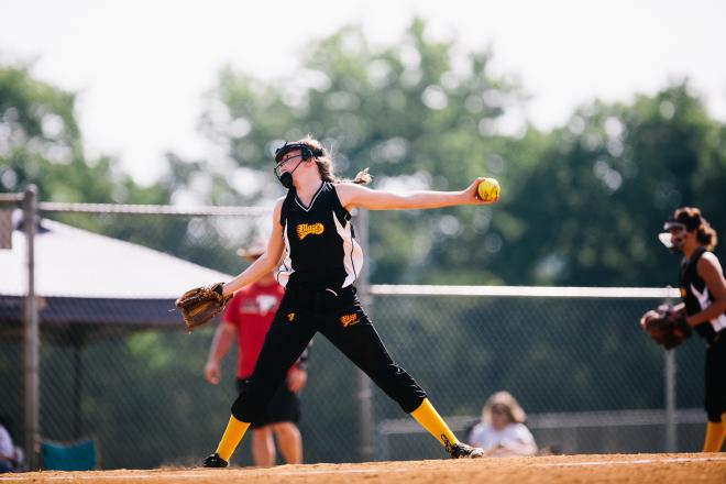 Softball Pitcher competing in the USA Stars and Stripes Roanoke Valley Tournament