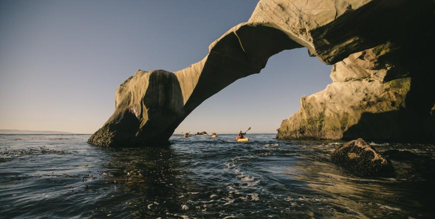 Kayakers paddling through Dinosaur Caves in San Luis Obispo