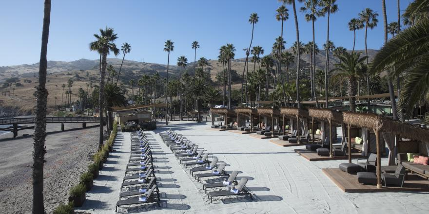 Chaise lounges on the beach at Two Harbors on Catalina Island