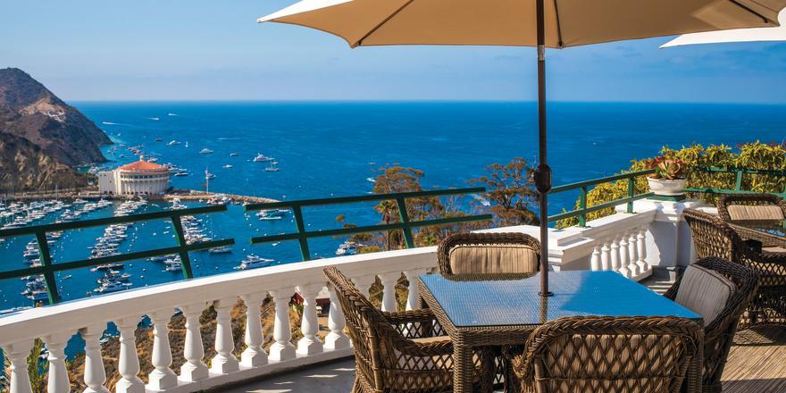 Mt Ada patio overlooking Avalon bay on Catalina Island